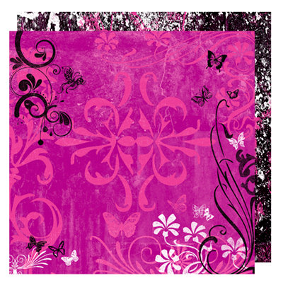 Glitz Design - Audrey Collection - 12 x 12 Double Sided Paper - Audrey Flourish, BRAND NEW