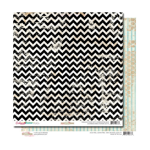 Glitz Design - Cashmere Dame Collection - 12 x 12 Double Sided Paper - Chevron