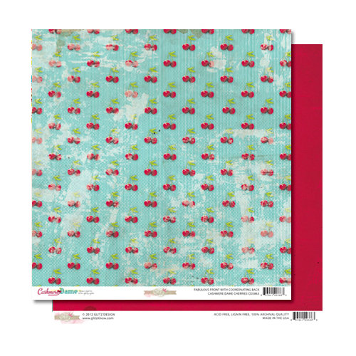 Glitz Design - Cashmere Dame Collection - 12 x 12 Double Sided Paper - Cherries