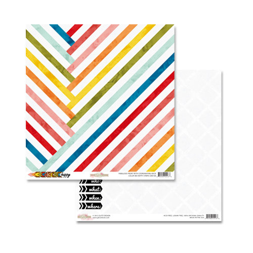 Glitz Design - Color Me Happy Collection - 12 x 12 Double Sided Paper - Stripe