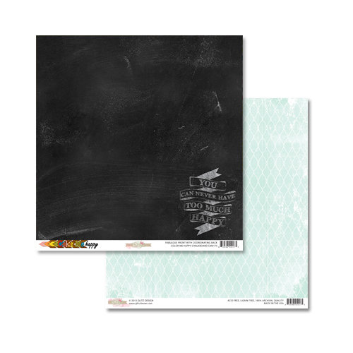Glitz Design - Color Me Happy Collection - 12 x 12 Double Sided Paper - Chalkboard
