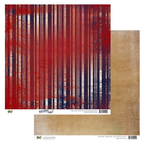 Glitz Design - Detour Collection - 12 x 12 Double Sided Paper - Detour Stripe, BRAND NEW