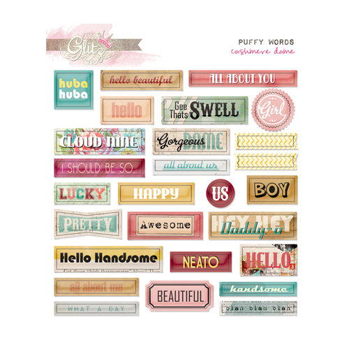 Glitz Design - Cashmere Dame Collection - Puffy Stickers - Words