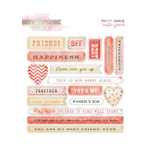 Glitz Design - Hello Friend Collection - Puffy Stickers - Words