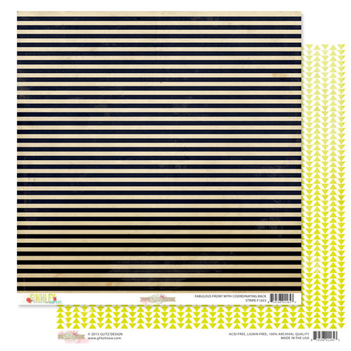 Glitz Design - Finnley Collection - 12 x 12 Double Sided Paper - Stripe