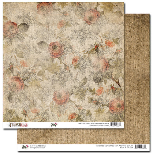 Glitz Design - French Kiss Collection - 12 x 12 Double Sided Paper - Floral