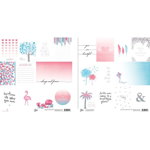 Glitz Design - Felicity Collection - 12 x 12 Double Sided Paper - Bits and Pieces