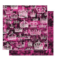 Glitz Design - Glam Collection - 12x12 Double Sided Paper - Crowns, BRAND NEW