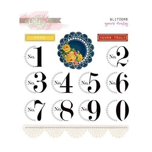 Glitz Design - Yours Truly Collection - Glitzers - Transparent Stickers with Jewels