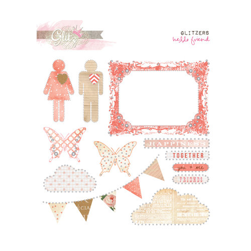 Glitz Design - Hello Friend Collection - Glitzers - Transparent Stickers with Jewels
