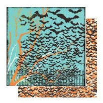 Glitz Design - Hallow Collection - 12x12 Double Sided Paper - Bats, CLEARANCE