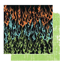 Glitz Design - Hallow Collection - 12x12 Double Sided Paper - Flames, CLEARANCE