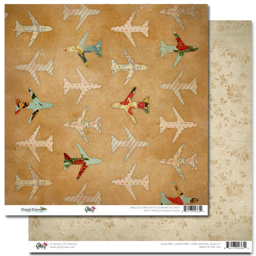 Glitz Design - Happy Travels Collection - 12 x 12 Double Sided Paper - Planes