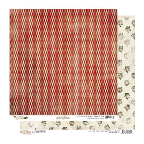 Glitz Design - Joyeux Noel Collection - Christmas - 12 x 12 Double Sided Paper - Polka