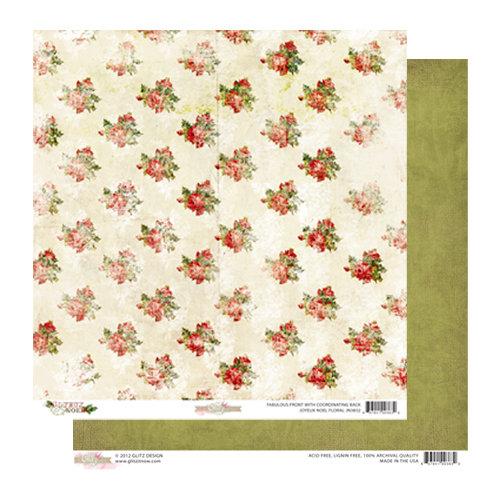 Glitz Design - Joyeux Noel Collection - Christmas - 12 x 12 Double Sided Paper - Floral