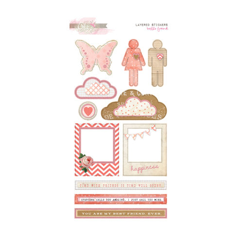 Glitz Design - Hello Friend Collection - Layered Stickers