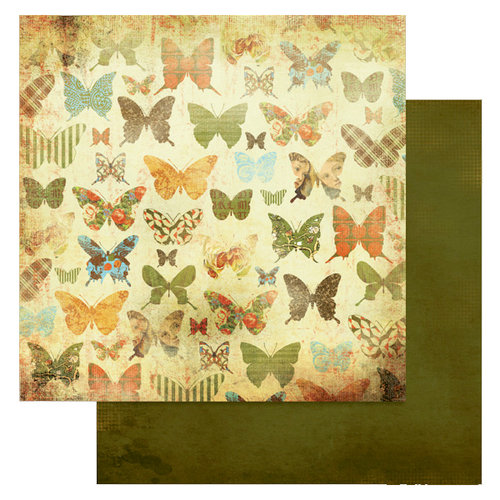 Glitz Design - Laced with Grace Collection - 12 x 12 Double Sided Paper - Butterflies, BRAND NEW