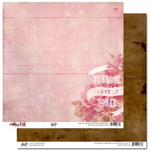 Glitz Design - Pretty in Pink Collection - 12 x 12 Double Sided Paper - Ledger