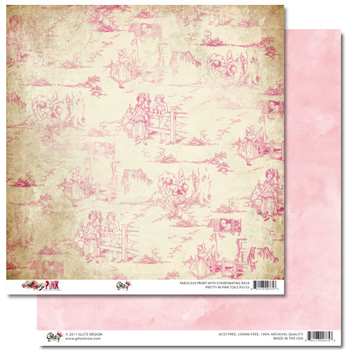 Glitz Design - Pretty in Pink Collection - 12 x 12 Double Sided Paper - Toile