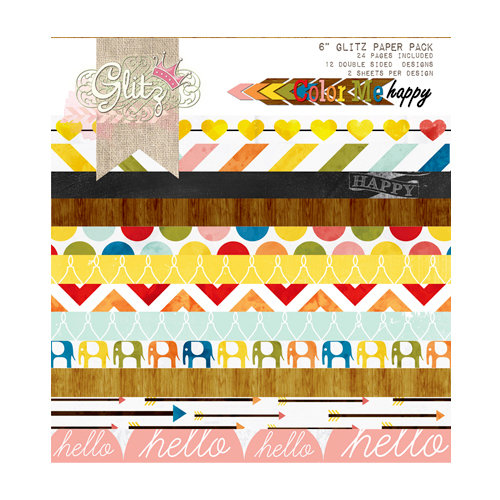 Glitz Design - Color Me Happy Collection - 6 x 6 Paper Pad