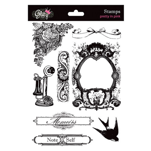 Glitz Design - Pretty in Pink Collection - Clear Acrylic Stamps