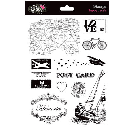 Glitz Design - Happy Travels Collection - Clear Acrylic Stamps
