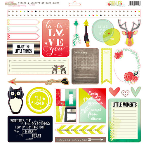 Glitz Design - Finnley Collection - 12 x 12 Cardstock Stickers - Titles and Accents