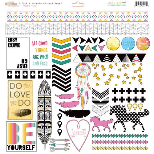 Glitz Design - Wild and Free Collection - 12 x 12 Cardstock Stickers - Titles and Accents