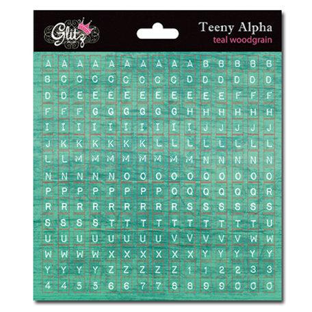 Glitz Design - Cardstock Stickers - Teeny Alphabet - Teal Wood Grain