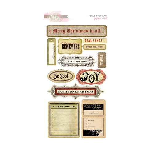 Glitz Design - Joyeux Noel Collection - Christmas - Cardstock Stickers - Titles