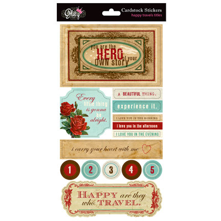 Glitz Design - Happy Travels Collection - Cardstock Stickers - Titles