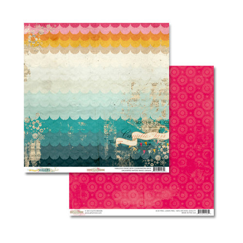 Glitz Design - Unchartered Waters Collection - 12 x 12 Double Sided Paper - Waves