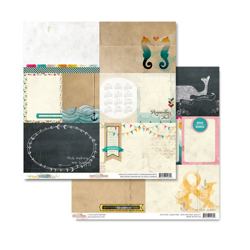 Glitz Design - Unchartered Waters Collection - 12 x 12 Double Sided Paper - Bits and Pieces