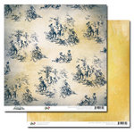 Glitz Design - Vintage Blue Collection - 12 x 12 Double Sided Paper - Toile