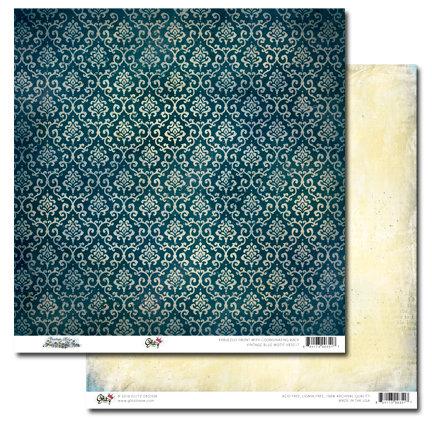 Glitz Design - Vintage Blue Collection - 12 x 12 Double Sided Paper - Motif