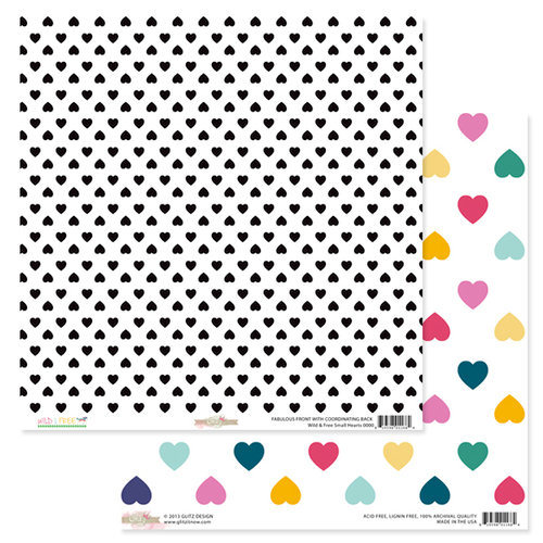 Glitz Design - Wild and Free Collection - 12 x 12 Double Sided Paper - Small Hearts
