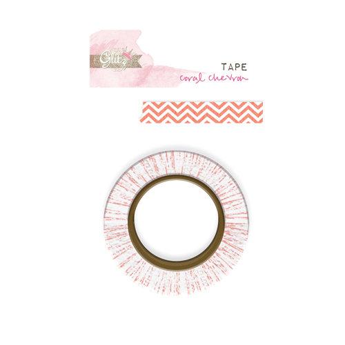 Glitz Design - Hello Friend Collection - Washi Tape - Coral Chevron