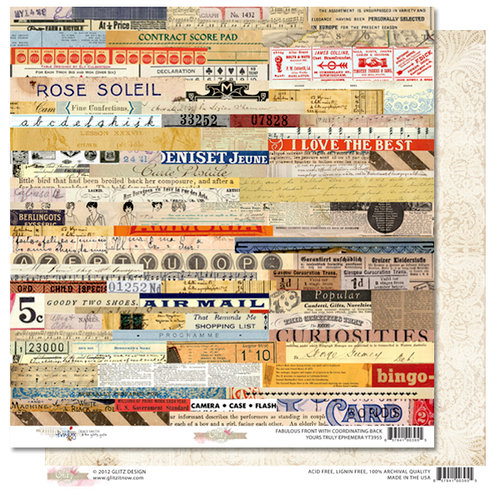 Glitz Design - Yours Truly Collection - 12 x 12 Double Sided Paper - Ephemera
