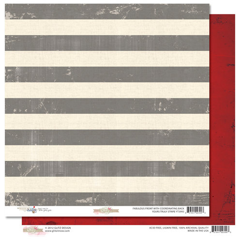 Glitz Design - Yours Truly Collection - 12 x 12 Double Sided Paper - Stripe