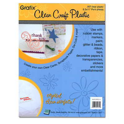 Grafix - Clear Craft Plastic - 8.5 x 11 - Thin