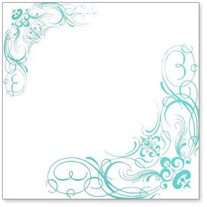Hambly Studios - Overlay Transparancy - Screen Prints - Corner Flourishes - Metallic Teal Blue