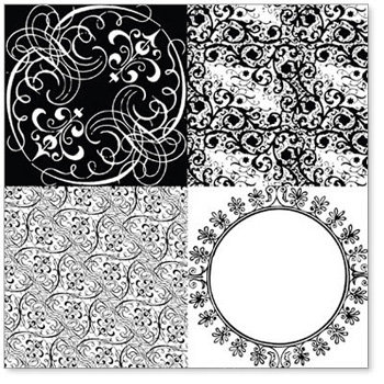 Hambly Studios - Screen Prints - 12x12 Overlay - Vintage Patchwork - Black