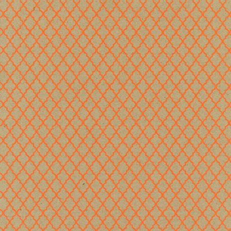 Hambly Studios - Screen Prints - 12 x 12 Paper - Lattice - Coral on Kraft