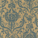 Hambly Studios - Screen Prints - 12 x 12 Paper - Brocade Blossom - Grey on Kraft