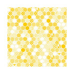 Hambly Studios - Screen Prints - 12 x 12 Paper - Honeycomb - Golden Yellow on White Ice