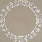 Hambly Studios - Paper - Screen Prints - Big Vintage Circle - White on Kraft