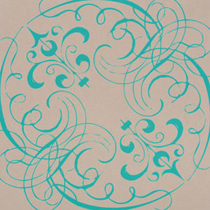 Hambly Studios - Paper - Screen Prints - Swashes and Swirls - Teal Blue on Kraft