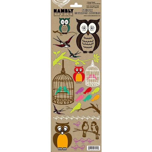 Hambly Studios - Screen Prints - Kraft Cardstock Stickers - Owls and Birds