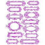 Hambly Studios - Screen Prints - Hand Silk Screened Rub-Ons - Elegant Labels - Magenta, CLEARANCE