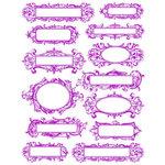 Hambly Studios - Screen Prints - Hand Silk Screened Rub-Ons - Elegant Labels - Magenta, CLEARANCE